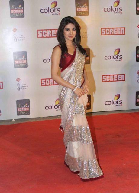 Priyanka Chopra Saree at star screen Awards