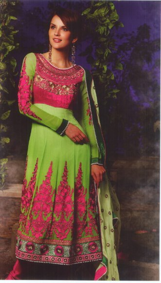 latest designer green-pink anarkali suit