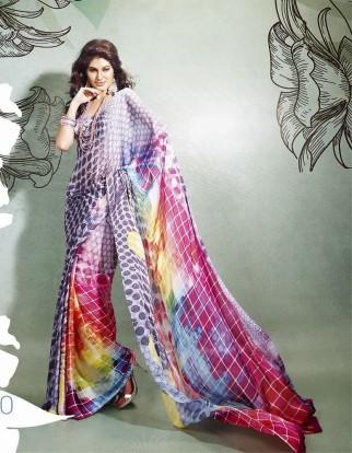 Madhuri style IIFA 2013 printed Multicoloured Saree